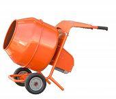 stock photo of concrete pouring  - small orange concrete mixer machine and wheelbarrow isolate on white background - JPG