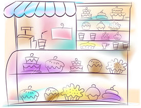 pic of bakeshop  - An Illustration of a Bakeshop with Cake Display - JPG