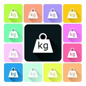 stock photo of weight lifter  - Weight Icon color set vector illustration  - JPG