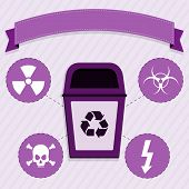 image of radioactive  - Purple trash for the selective collection of radioactive waste - JPG