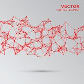 pic of cybernetics  - Vector element of red abstract cybernetic particles - JPG