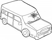 pic of fracture  - Single cartoon outline of SUV car with fractured window - JPG