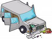 stock photo of bender  - Cartoon of bleeding man under damaged SUV car - JPG