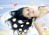 Nice Girl In Petals Of Roses On Hair In Spa