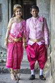 picture of ceremonial clothing  - ANGKOR WAT SIEM REAP CAMBODIA JANUARY 28 2015 - JPG