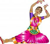 pic of indian sari  - girl in a graceful pose Indian dance on a white background - JPG