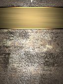stock photo of nameplates  - Abstract grunge metall texture with gold nameplate - JPG