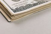 stock photo of 100 dollars dollar bill american paper money cash stack  - Money in dollars closeup - JPG