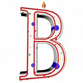 image of letter b  - B letter in shape of birthday candle 3d render isolated over white square image - JPG