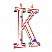 pic of letter k  - K letter in shape of birthday candle 3d render isolated over white square image - JPG