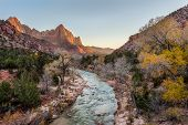 Постер, плакат: Beautiful Scene Of Zion National Park The Watchman At Sunset Utah