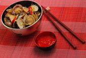 image of clam  - herbal clam soup Vietnam style served on a place mat - JPG