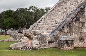 picture of stairway  - Serpent head stairway in El Castillo Pyramid Chichen Itza Mexico.