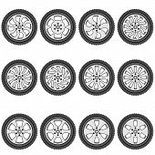 picture of alloy  - automotive wheel with alloy wheels - JPG