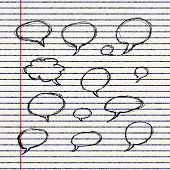 image of bubble sheet  - Hand drawn illustration of thought bubbles on a sheet of lined paper - JPG