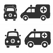image of ambulance car  - Cartoon Car Icons Silhouetted - JPG