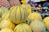 stock photo of muskmelon  - Some small yellow melons on the market - JPG