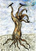 pic of dead-line  - Grunge sketch of a stylized dead tree hand drawn illustration - JPG