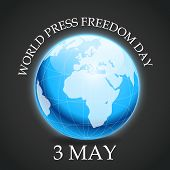 picture of freedom speech  - illustration of a earth for World Press Freedom Day in gray background - JPG