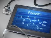 picture of penicillin  - penicillin word displayed on tablet with stethoscope over table - JPG