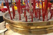 Incense Pot At Streetside Shrine Bangkok,Thailand