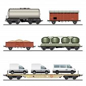foto of train-wheel  - Collection of Train Cargo Wagons - JPG