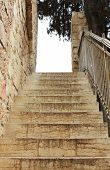 stock photo of stepping stones  - Old stone steps in Jerusalem - JPG