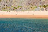 stock photo of atlantic ocean beach  - Atlantic ocean waters  and beach Las Teresitas - JPG