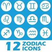stock photo of cancer horoscope icon  - Blue zodiac icons set in a unique style - JPG