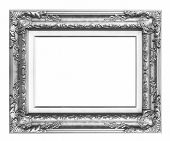stock photo of carving  - Old Antique Black frame Isolated Decorative Carved Wood Stand Antique Black Frame Isolated On White Background - JPG