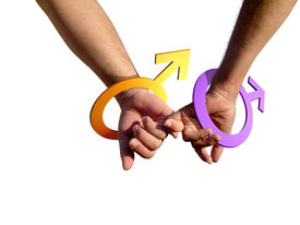 picture of same sex marriage  - two gay men holding hands with male symbol as bracelets - JPG