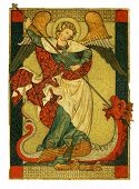 stock photo of archangel  - A stunning illustration of the archangel Saint Michael from Jewish Christian and Islamic tradition trampling Satan Lucifer the Devil - JPG
