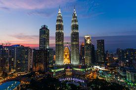 foto of petronas towers  - twin towers aka petronas towers in kuala lumpur malaysia - JPG