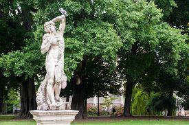 stock photo of vicenza  - Ornamental white stone statue inside the Giardini Salvi in Vicenza - JPG