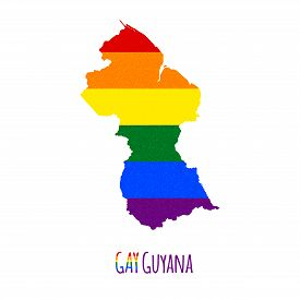 picture of bisexual  - Vector map of Guyana in LGBT  - JPG