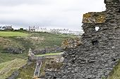 Detail of Tintagel Castle in Cornwall, UK