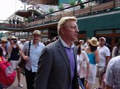 WIMBLEDON, ENGLAND - JUNE 24: Boris Becker arrives at the Wimbledon Lawn Tennis Championship on June 24, 2010. Boris Becker is a former Wimbledon champion,