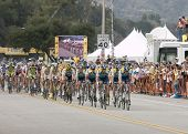 PASADENA, CA. - FEB 21: Lance Armstrong and Team Astana leading the peloton during stage 7 of the Am