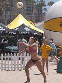 HUNTINGTON BEACH, CA. - MAY 23: AVP Huntington Beach Open south of the pier on the weekend May 23, 2009 in Huntington Beach, California.