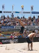 HUNTINGTON BEACH, CA. - MAY 23: Phil Dalhausser and Todd Rogers during the AVP Huntington Beach Open south of the pier on the weekend May 23, 2009 in Huntington Beach, California.