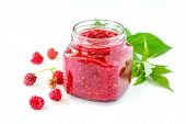 Homemade Homemade Jam. Glass Jar With Raspberry Jam On A White Background. Preserved Berry. poster
