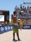 HUNTINGTON BEACH, CA. - MAY 23: Ty Loomis before serving at the AVP Huntington Beach Open south of the pier on the weekend of the 22nd -24th in Huntington Beach, California May 23rd 2009