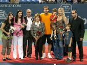 LOS ANGELES, CA. - JULY 27: Pete Sampras and family pose for photographers after his exhibition matc