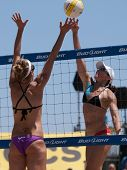 HERMOSA BEACH, CA. - AUGUST 8: Jen Kessy and April Ross (L) vs. Nicole Branagh and Elaine Youngs (R)