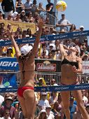 HERMOSA BEACH, CA. - AUGUST 8: Jen Kessy (R) and April Ross vs. Nicole Branagh and Elaine Youngs (L)