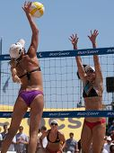 HERMOSA BEACH, CA. - AUGUST 8: Jen Kessy (L) and April Ross vs. Nicole Branagh (MID) and Elaine Youn