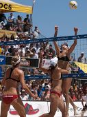 HERMOSA BEACH, CA. - AUGUST 8: Jen Kessy (R) and April Ross vs. Nicole Branagh (L) and Elaine Youngs