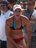 HERMOSA BEACH, CA. - AUGUST 8: Elaine Youngs after winning the womens final of the AVP Hermosa Beach