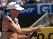 HERMOSA BEACH, CA. - AUGUST 8: Elaine Youngs celebrating after winning the womens final of the AVP H