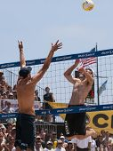 HERMOSA BEACH, CA. - AUGUST 9: Phil Dalhausser (L) and Todd Rogers vs. John Hyden (R) and Sean Scott